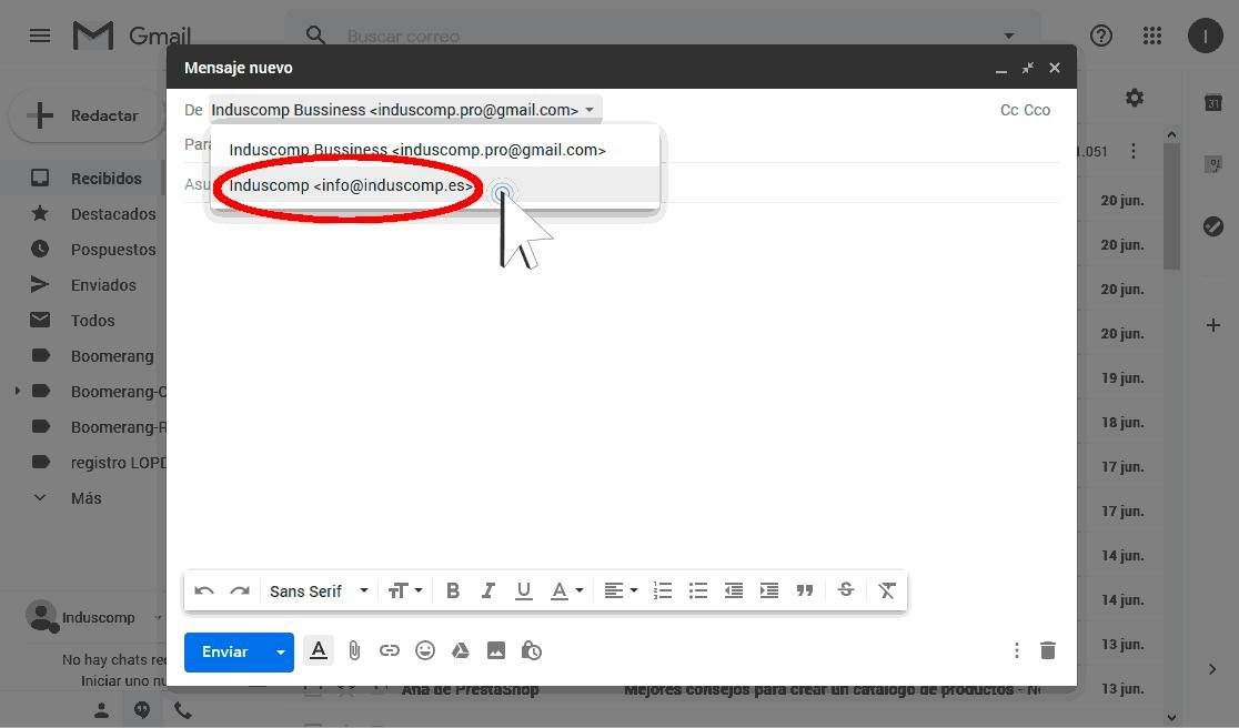 ¿Cómo configuro mi correo corporativo de mi dominio con Gmail?